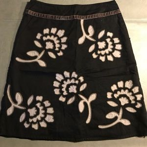 Boden Women's Black Gray Appliqué Skirt Sz 6 R